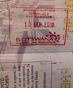 Sello de Botswana, el último que añadimos a nuestro pasaporte