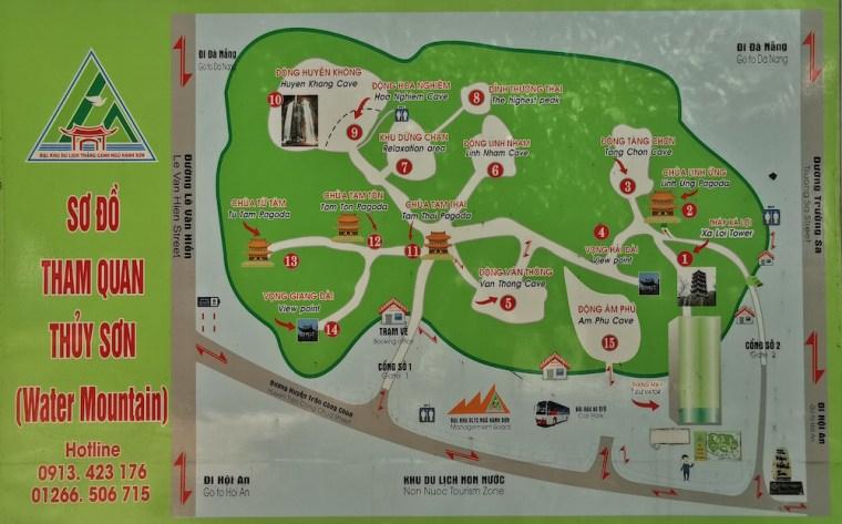 Mapa de la Montaña de Agua en Danang