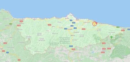 Ubicación del Pico Pienzu en el territorio de Asturias