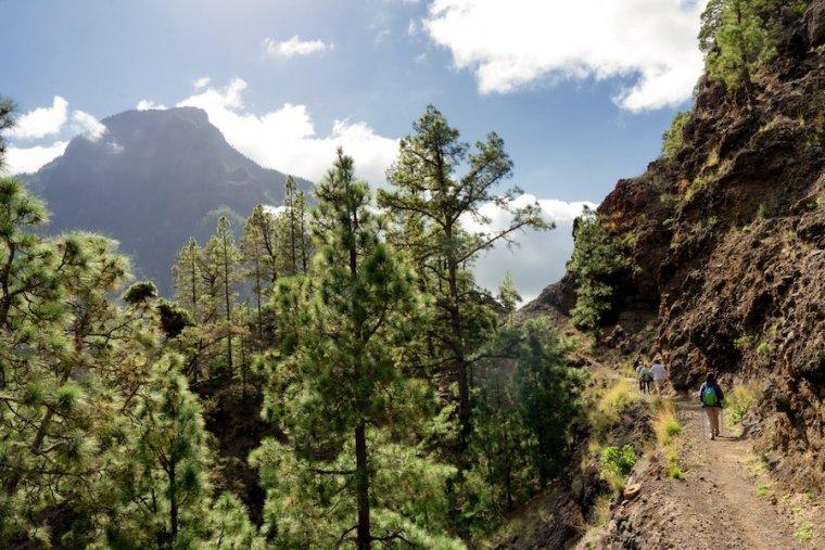 Ruta desde el Mirador de los Brecitos al Barranco de las Angustias, en la Caldera de Taburiente, La Palma