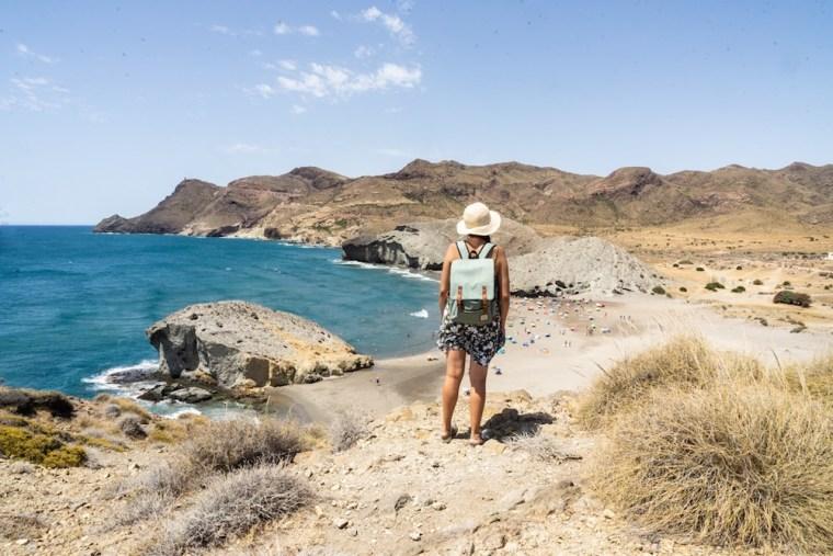 Vista de la playa de Mónsul desde su duna, Cabo de Gata, Almería