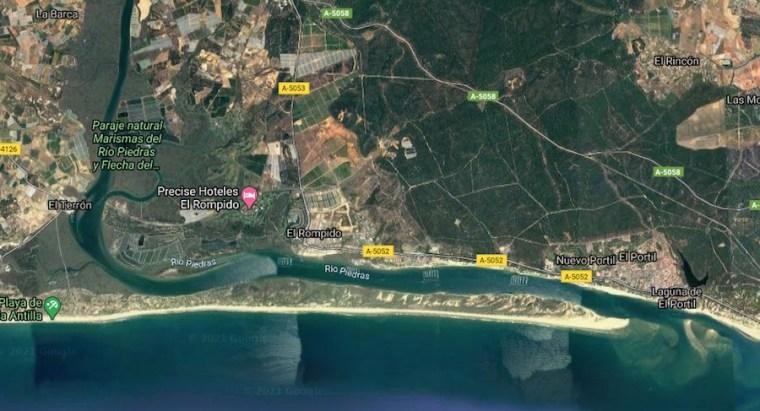 Mapa con la ubicación de la Flecha frente a la costa de El Rompido en Huelva