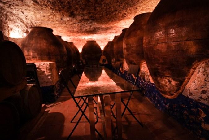 Cueva en la enoteca 11 Ánforas, Valdepeñas