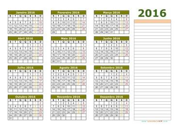 Calendário 2016 - 3