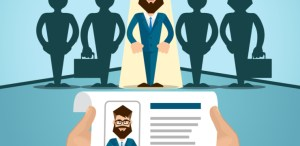 Vitae Recruitment Candidate Job Position, Curriculum. Hands Hold CV Profile Choose from Group of Business People to Hire Interview Vector Illustration