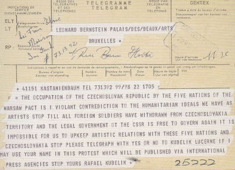 Communist country boycott call telegram from Kubelik to Bernstein