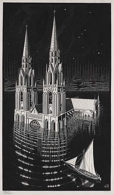 Escher, La Cathédrale engloutie, 1924