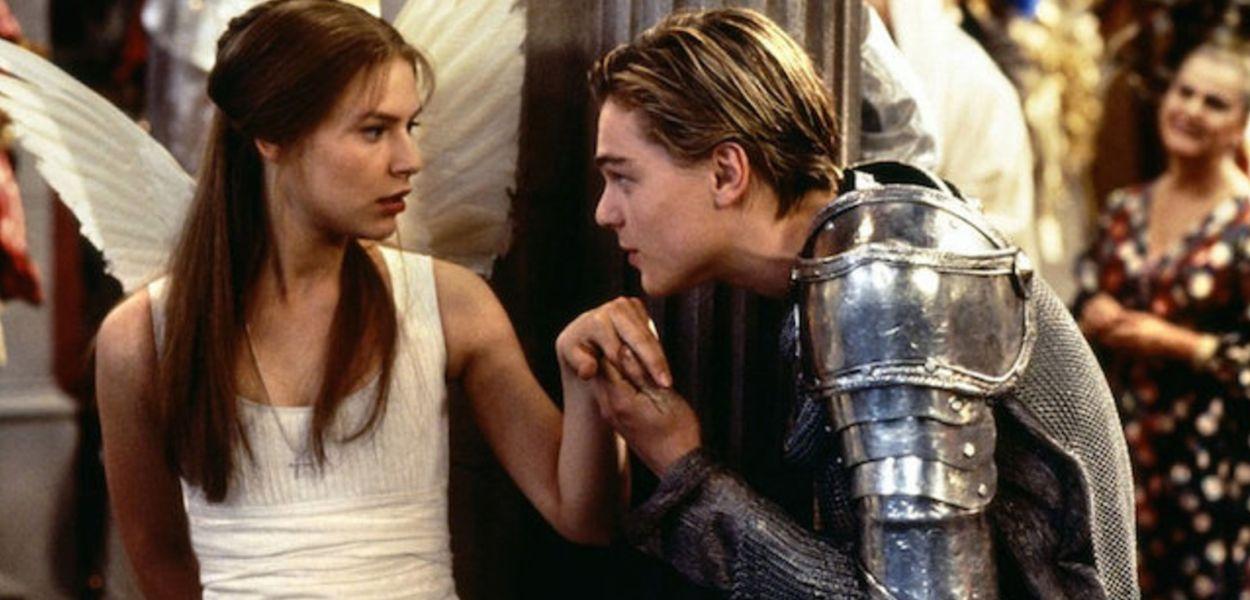 Claire Danes as Juliet Capulet and Leonardo DiCaprio as Romeo Montague in Romeo + Juliet