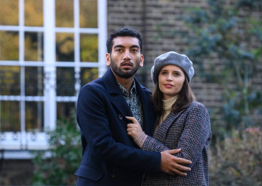 The Last Letter from Your Lover Cast - Nabhaan Rizwan as Rory McCallan and Felicity Jones as Ellie Haworth