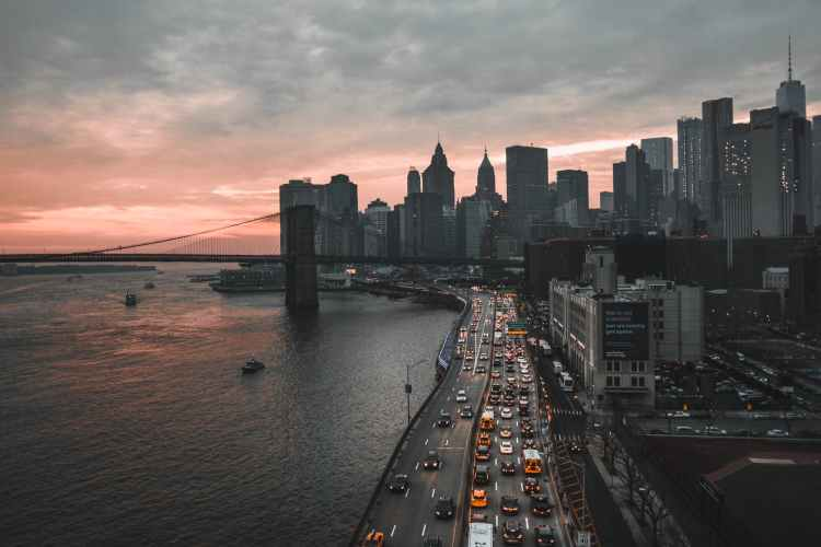 bird s eye view of city during dawn