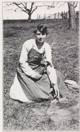 """Marian Chalkley was the sole member of the Industrial Arts class at the Harrisonburg school in 1915. Though other paths of study were offered, the vast majority of students pursued teaching. (""""The Schoolma'am,"""" 1916 Harrisonburg yearbook, LB1972 .H42 S3)"""
