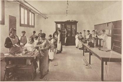 "Radford students in a woodworking class (""Book of Views,"" Radford, 1916, LB 1972 .R3 B7)"