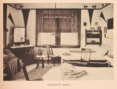 """Dorms were built to the highest contemporary standards. A """"dorm mother"""" lived in each to enforce rules and provide comfort and guidance. Students continue to live in many of these original dorms today. (Fredericksburg bullein, 1915, LD7251 .M225 B82)"""