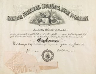 Henrietta C. MacKan's diploma from the Farmville Normal School (Mss1 M1915a) MacKan also had a high school diploma, though some students started coursework at the normal prior to completing secondary coursework.