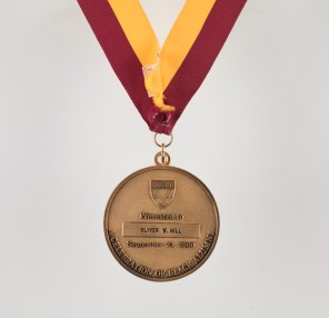 Harvard Law School Medal of Freedom featuring the image of Charles Hamilton Houston, awarded to Oliver W. Hill, Sr. in 2000 (Virginia Historical Society, Accession number 2014.79.15)