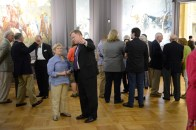 Me and guests at the May 6, 2015, unveiling of the Memorial Military Murals by Charles Hoffbauer.