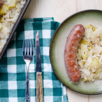 Baked Bratwurst with Sauerkraut