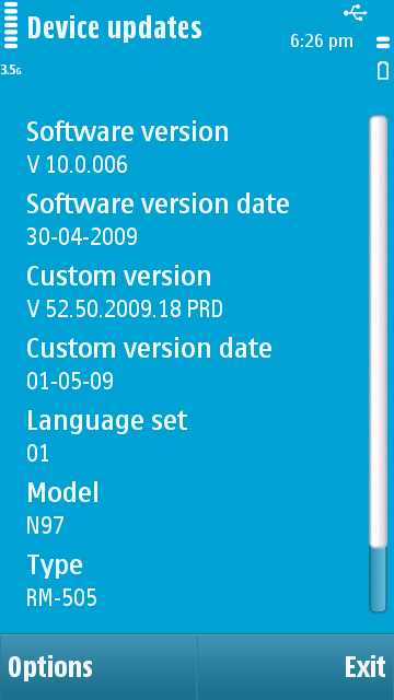 Current Nokia N97 Firmware