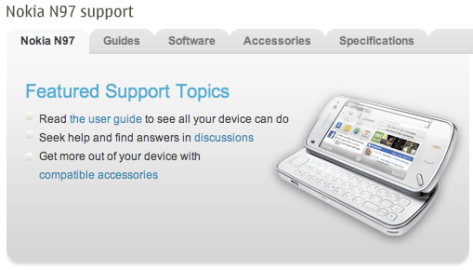 Nokia N97 Support Page