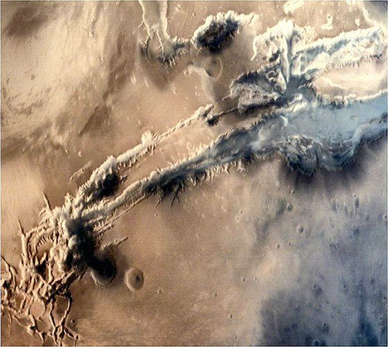 Close-up view of a portion of the gigantic Valles Marineris Canyon of Mars (courtesy Isro)