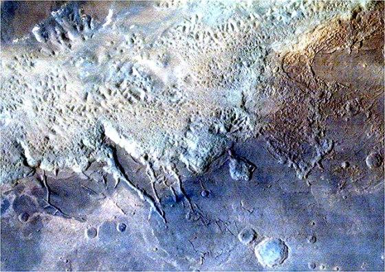 Eos Chaos area, part of the gigantic Valles Marineris Canyon of Mars (courtesy Isro)