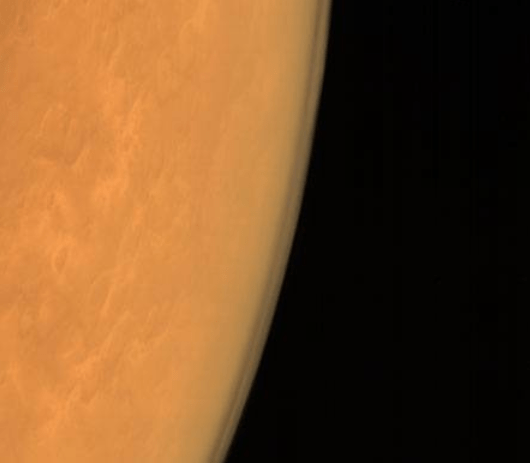 Taken using the Mars Color Camera from an altitude of 8449 km (courtesy Isro)