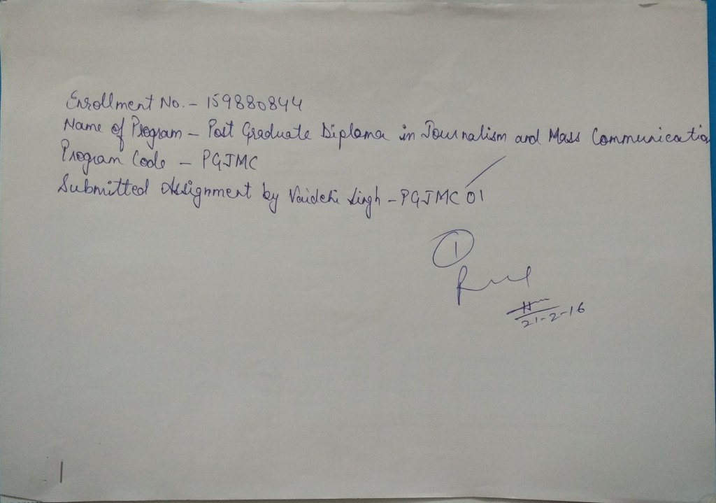 open letter with receipt of Assignment 1 of IGNOU PGJMC course