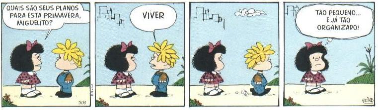 Tirinha Mafalda, de Quino, em Português