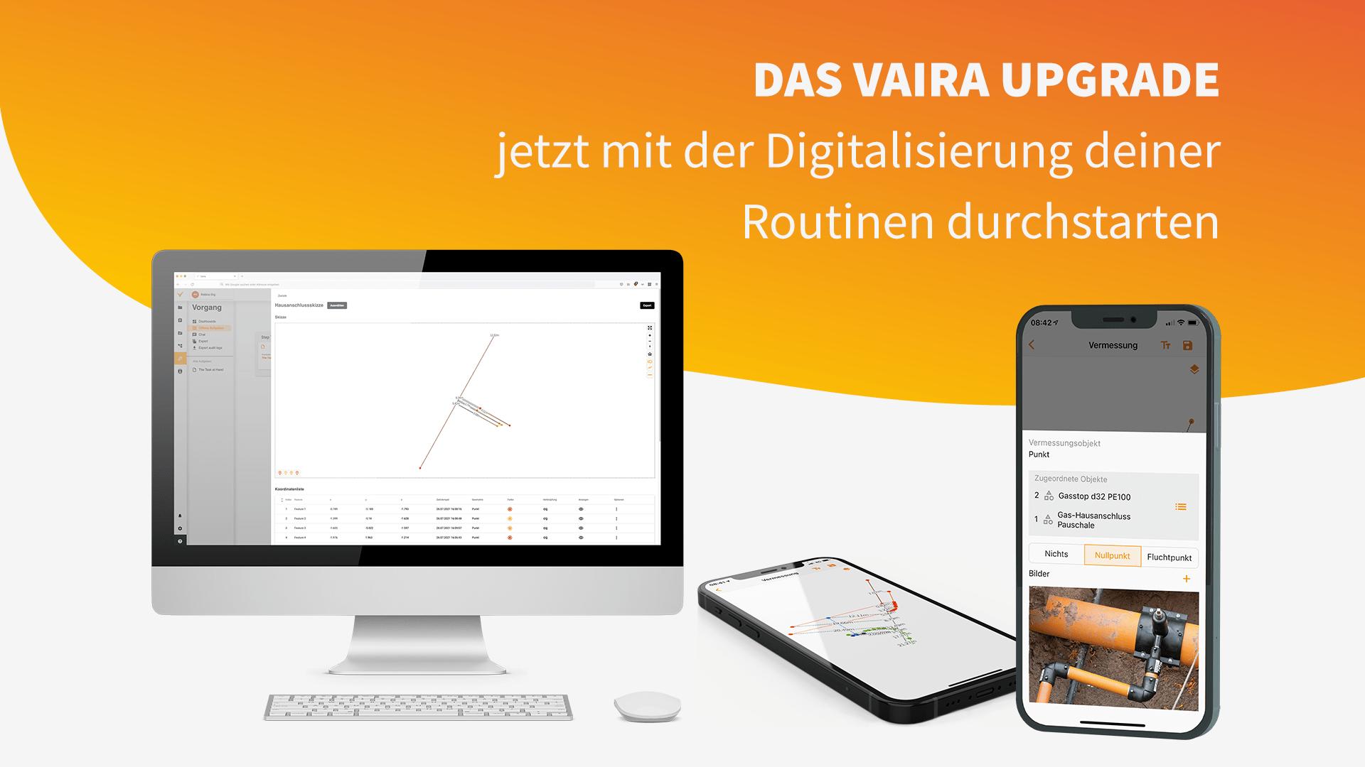"""Titelbild. Zeigt einen Monitor und zwei Smartphones mit Screenshots von Vaira. Overlay-Text: """"Das Vaira Upgrade – Jetzt mit der Digitalisierung deiner Routinen durchstarten!"""""""