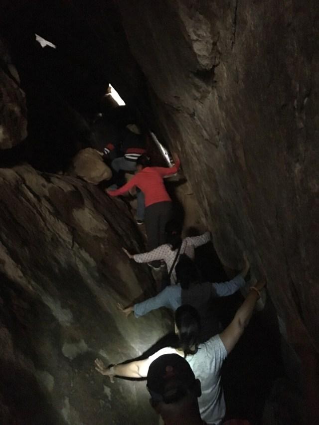 Trekking in a cave