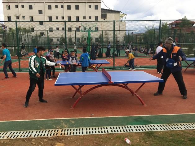 Playing TT at the park at Shigatse