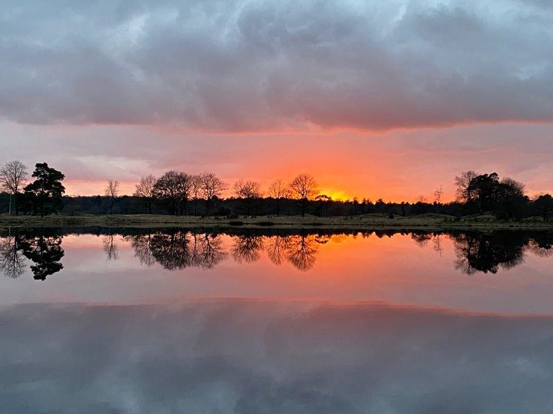 zonsondergang, Aekingerzand, Drents-Friese Wold