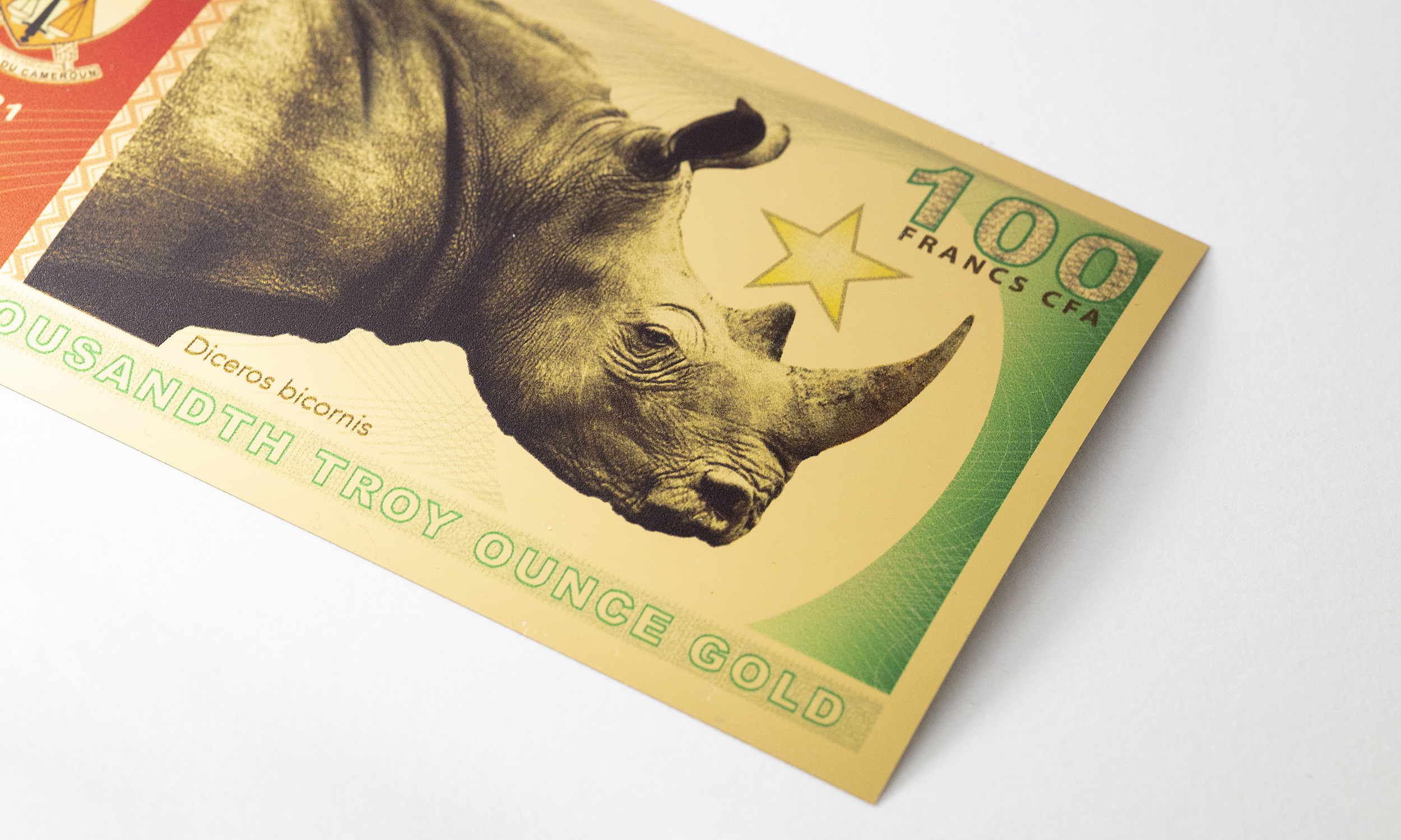 "New Release: Legal Tender Gold Note ""Black Rhinoceros"" 100 Francs CFA"
