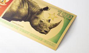 "New Release: Legal Tender Gold Note ""Black Rhinoceros"" 100 Francs CFA"