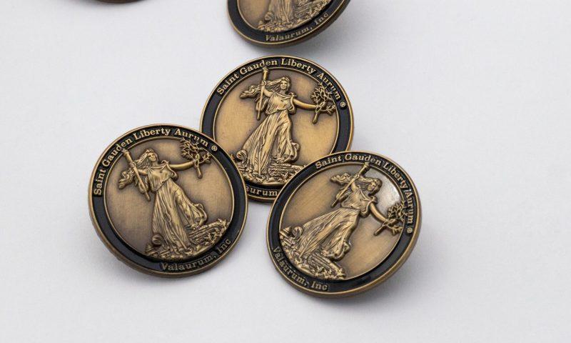 Group shot of St. Gauden's Liberty Enamel Pin - Valaurum, Inc.