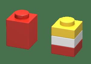 1 brick 1x1 = 3 plate 1x1