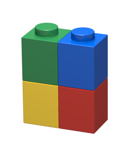 Brick 1x2x2 con bricks 1x1