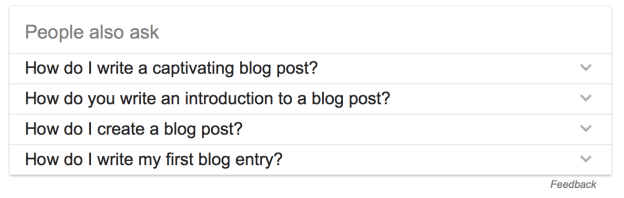 blog post writing research with google people also ask