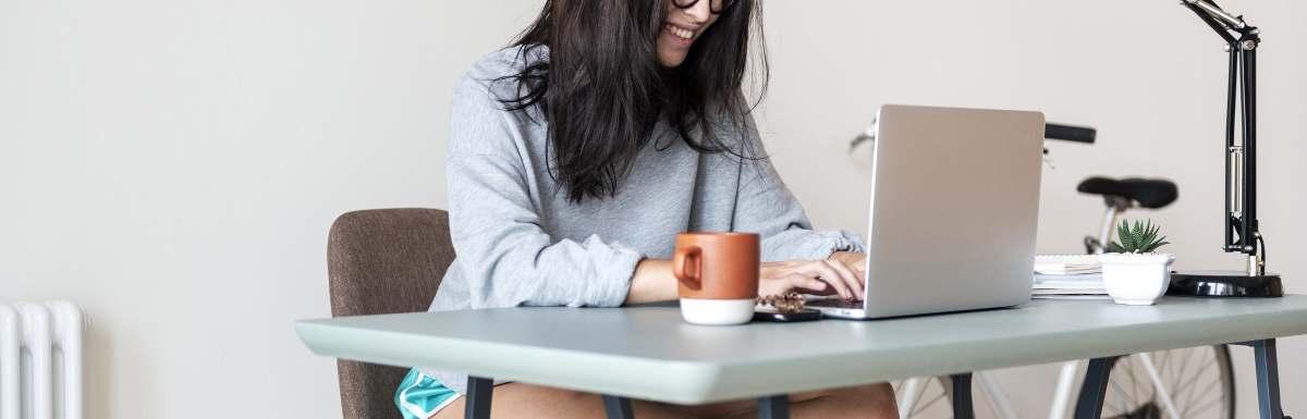 woman writing blog post