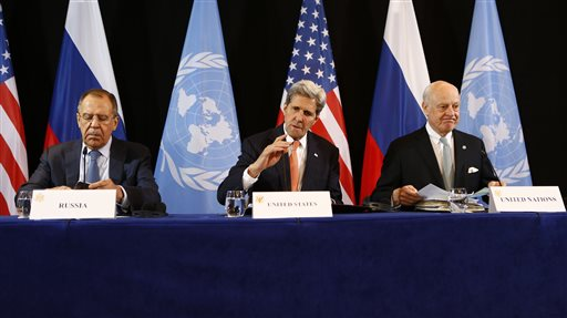 U.S. Secretary of State John Kerry, center, Russian Foreign Minister Sergey Lavrov, left, and UN Special Envoy for Syria Staffan de Mistura, right, arrive for a news conference after the International Syria Support Group (ISSG) meeting in Munich, Germany.
