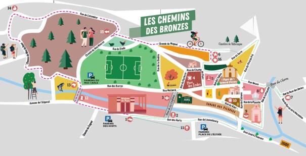 Parcours des Chemins des Bronzes du centre-bourg de Valleraugue