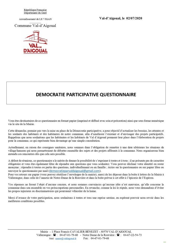 Questionnaire démocratie participative page 1
