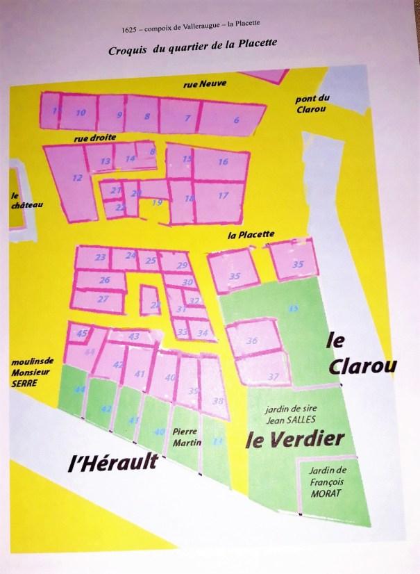 Plan cadastral du quartier de La Placette en 1625