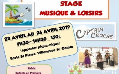 Villeneuve le Comte ►Stage Musique et Loisirs du 23 au 26 avril 2019