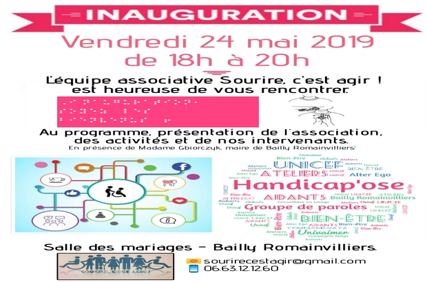Bailly-Romainvilliers ►  Inauguration le 24 mai de l'association Sourire, c'est agir !