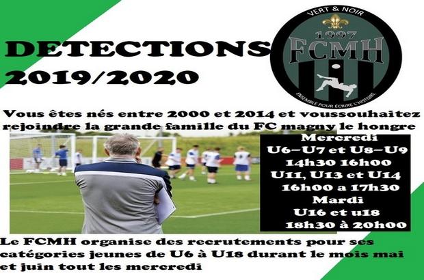 Magny le Hongre ►Football Club (FCMH) organise des détections saison 2019-2020