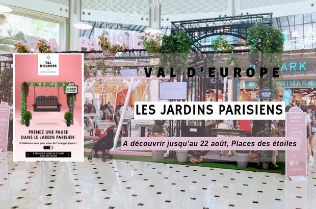 Val d'Europe ► Les Jardins Parisiens, un îlot de verdure  écoresponsable Place des Etoiles