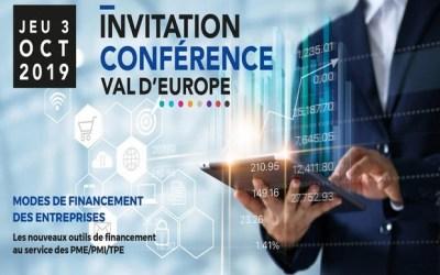 Conférence mode de financement des entreprises à la médiathèque Val d'Europe jeudi 3 octobre