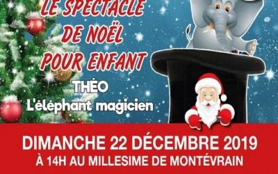 Spectacle de Noël, Théo l'éléphant magicien au Millesime de Montevrain