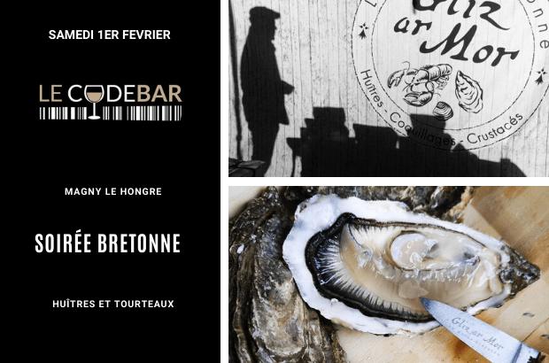 Magny : Soirée bretonne Huîtres et Tourteaux au Code Bar avec Gliz ar Mor le 1 fevrier